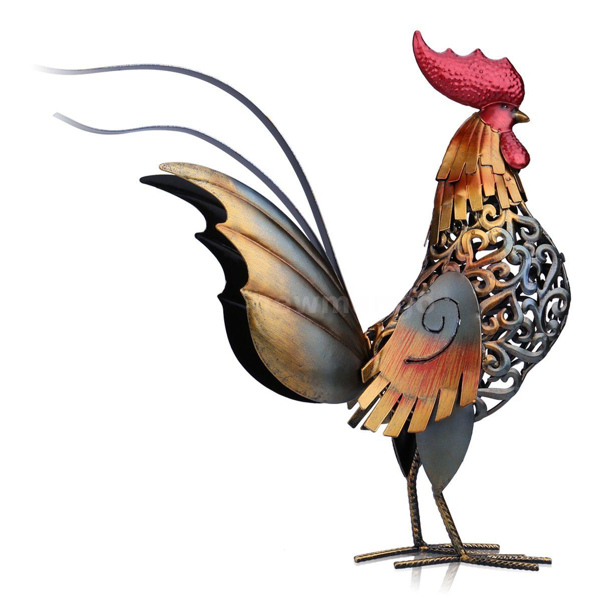 Tooarts Metal Figurine Iron Rooster Home Decor Articles: Tooarts Metal Modern Sculpture Carved Iron Art Rooster