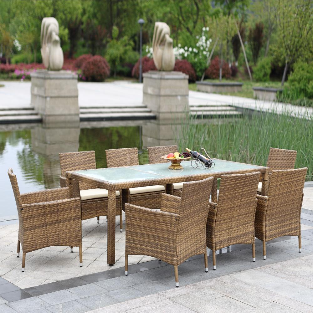 9pcs wicker rattan sofa furniture set patio garden lawn for Lawn and garden furniture