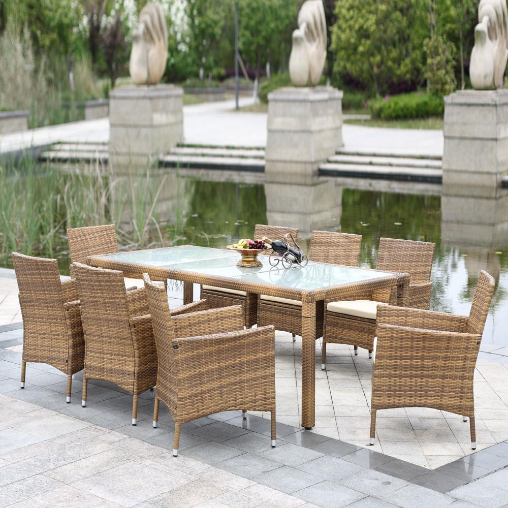 IKAYAA. 9pcs Wicker Rattan Sofa Furniture Set Patio Garden Lawn Cushioned