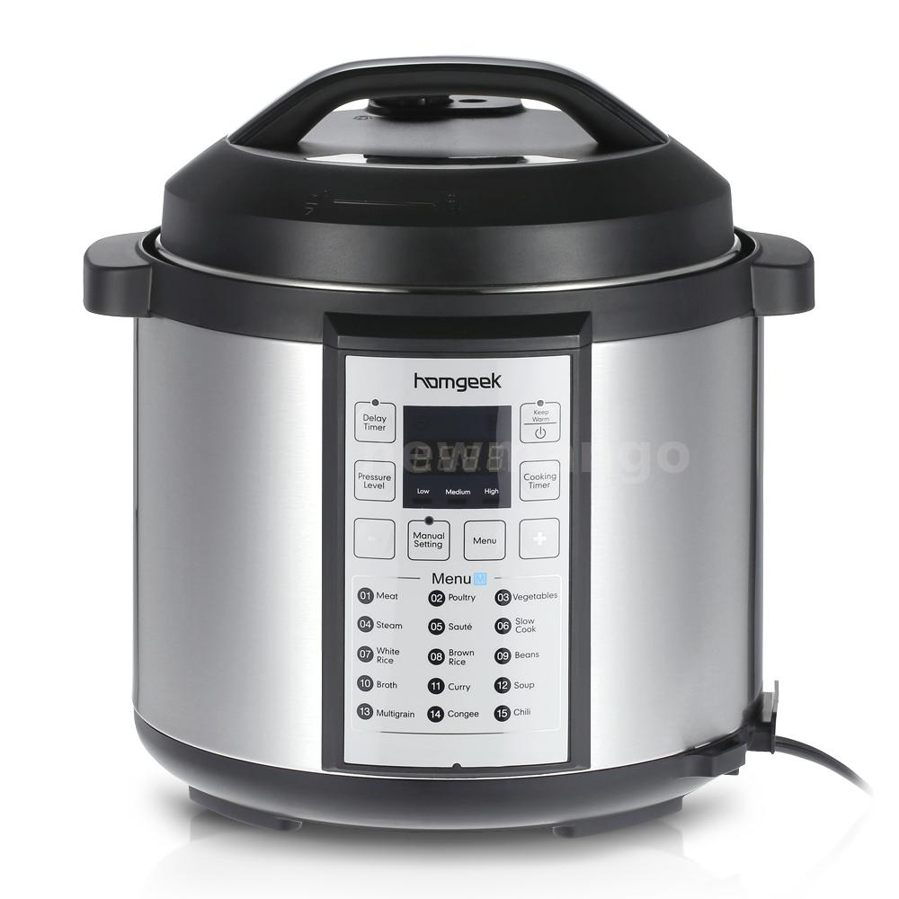 homgeek 6qt electric pressure cooker stainless steel programmable 1000w c5u0 ebay. Black Bedroom Furniture Sets. Home Design Ideas