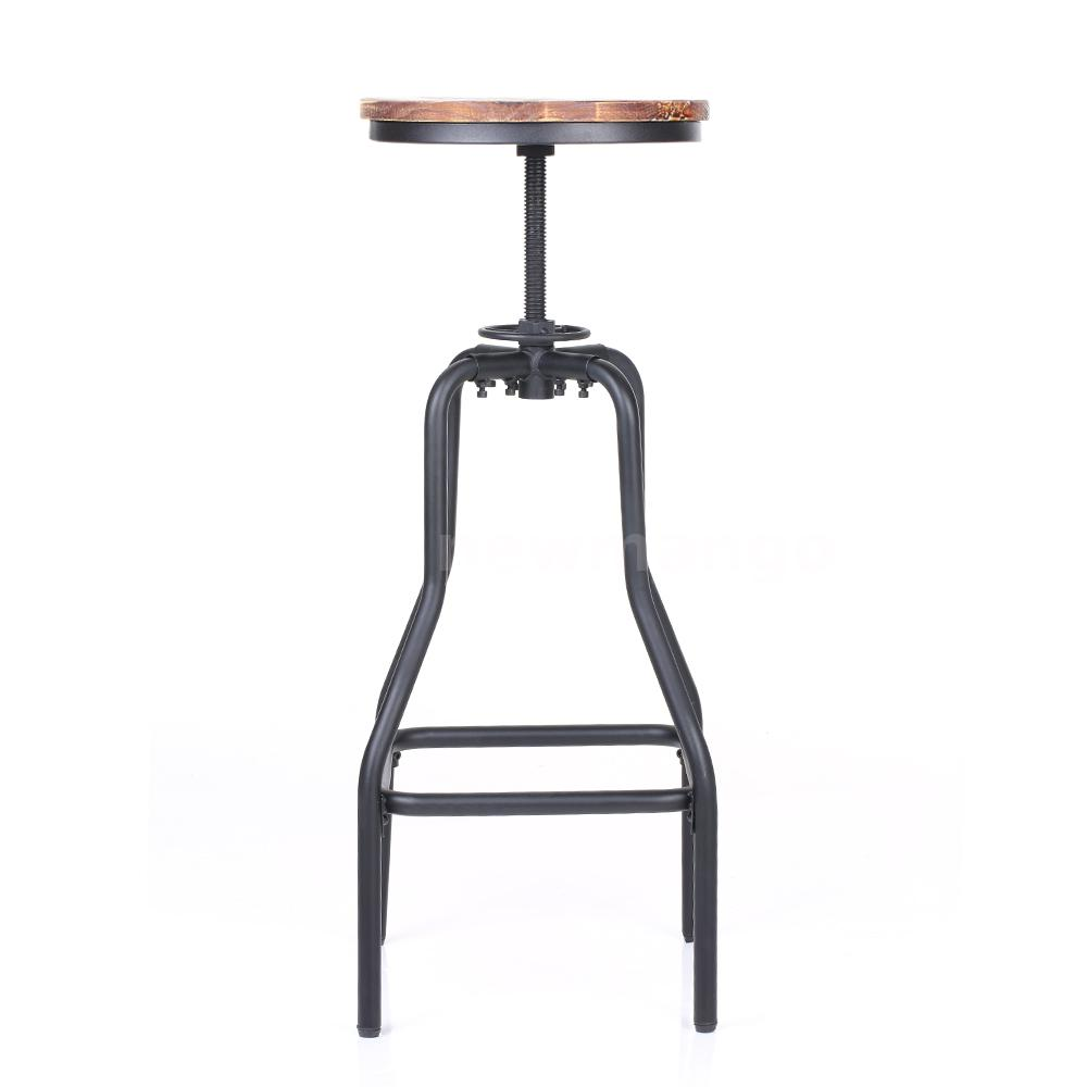 Height Adjustable Swivel Barstool Sturdy Wooden Kitchen Dining Chair Stool