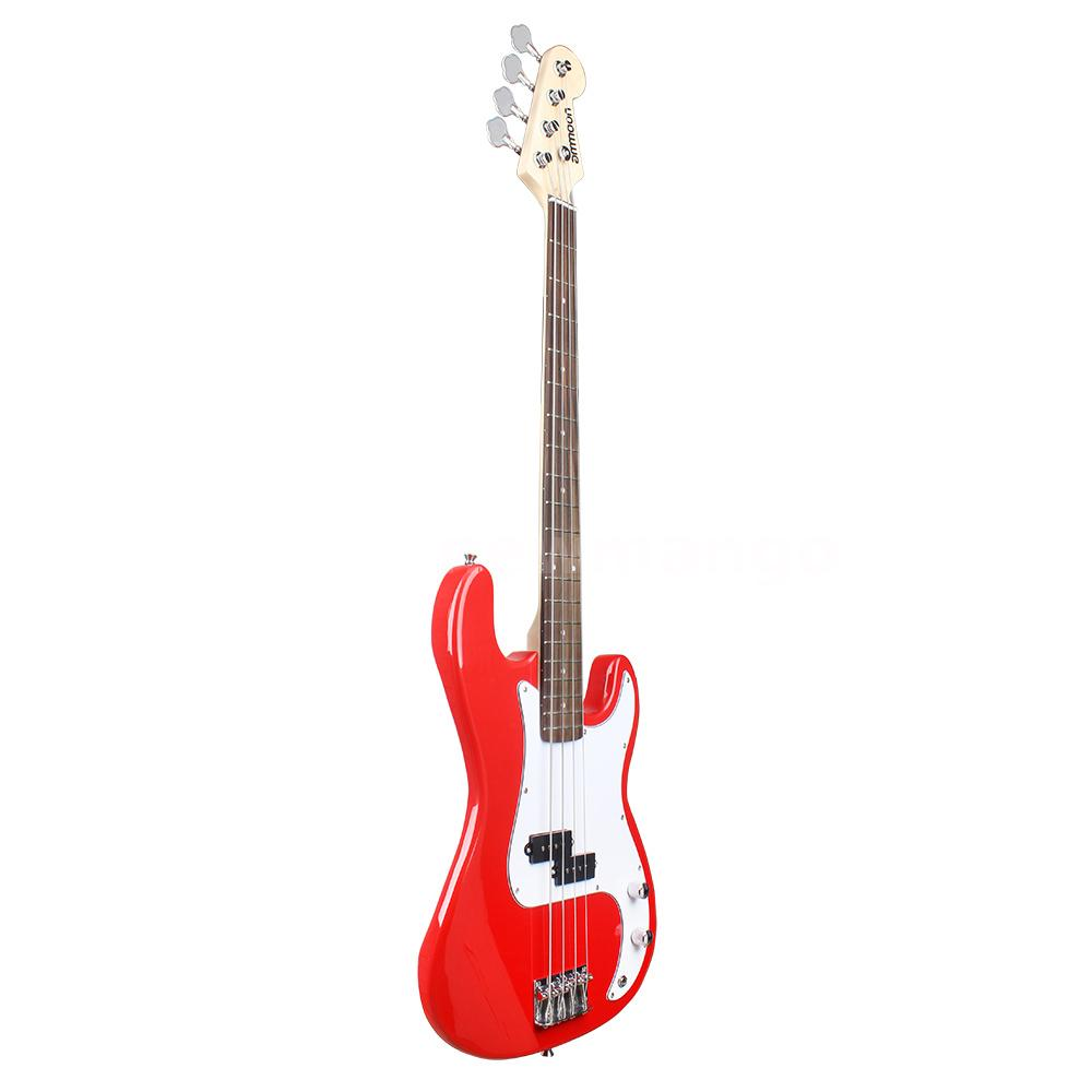 ammoon red full size 4 string electric bass guitar w strap bag amp cord d4e8 ebay. Black Bedroom Furniture Sets. Home Design Ideas