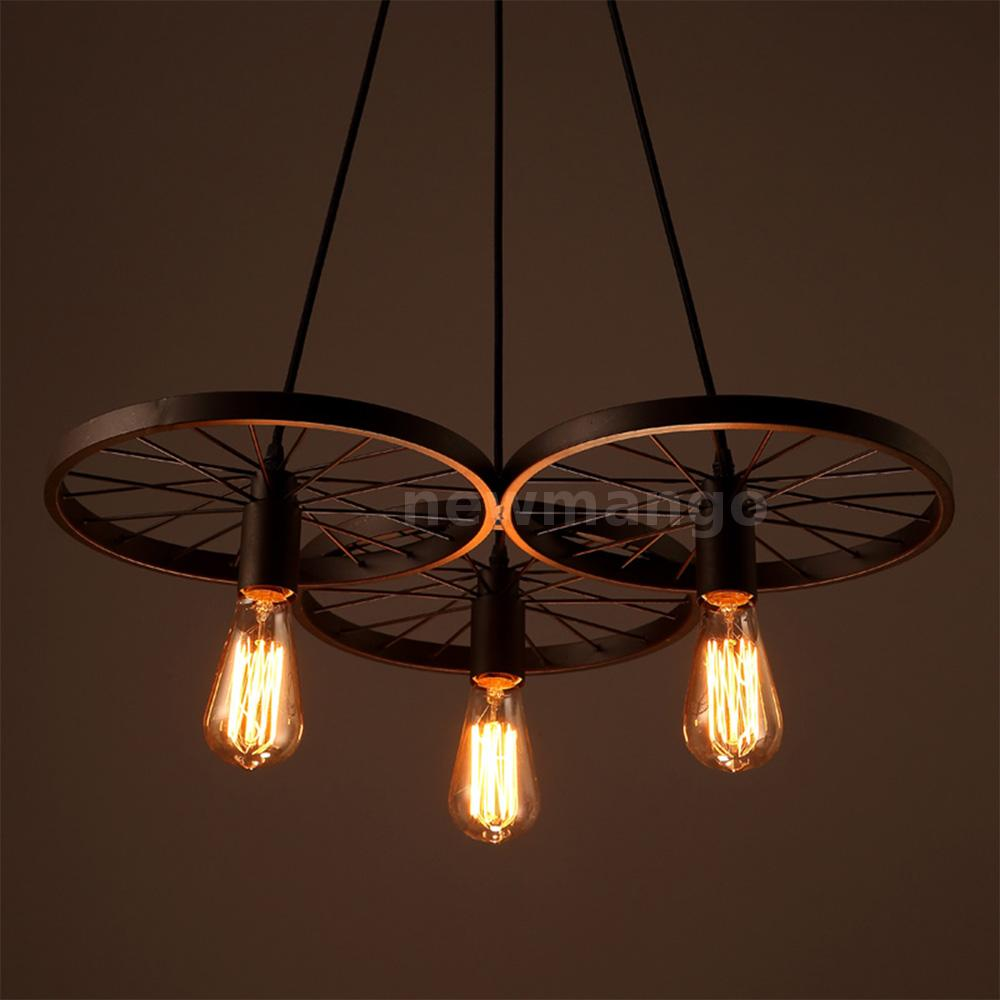 E27 3-Arm Ceiling Hanging Pendant Light Fixture Vintage