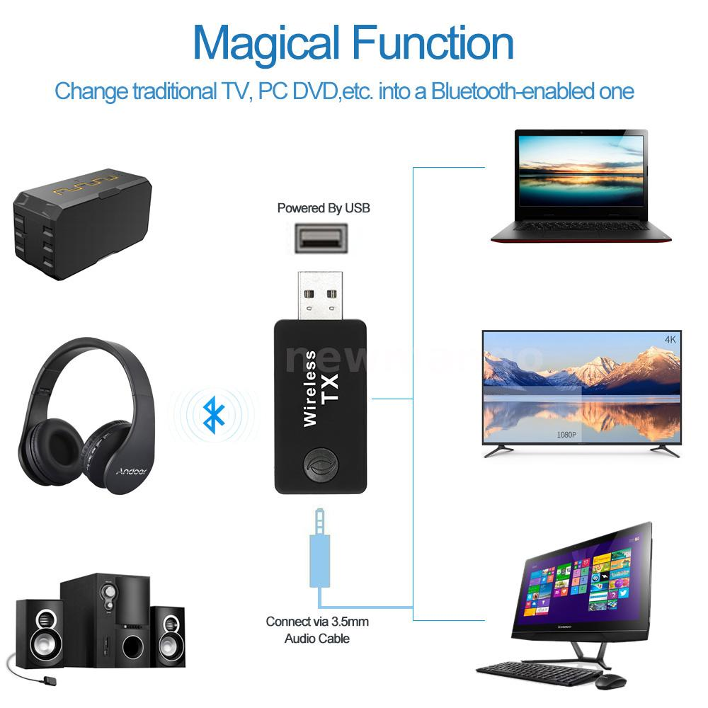 usb bluetooth audio adapter stereo music dongle transmitter for tv pc 664166564044 ebay. Black Bedroom Furniture Sets. Home Design Ideas