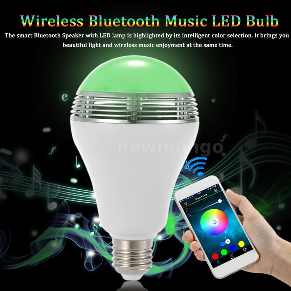 E27 bluetooth4 0 control smart music audio speaker led rgb for Bluetooth controlled light bulb