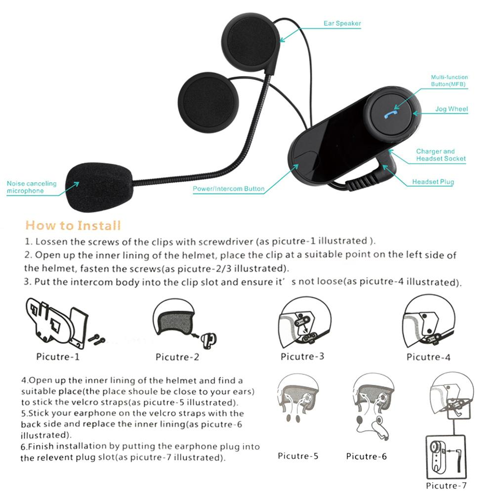 freedconn tcom os motorcycle helmet waterproof bluetooth stereo headset intercom ebay. Black Bedroom Furniture Sets. Home Design Ideas