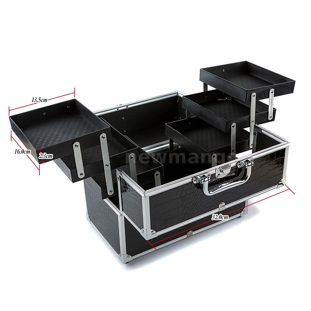 large cosmetic organizer box make up case lockable. Black Bedroom Furniture Sets. Home Design Ideas