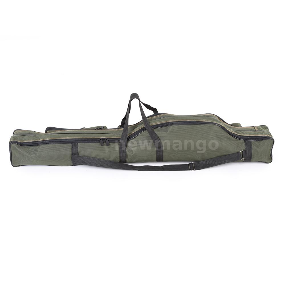 Canvas folding fishing pole tools storage bag case gear for Foldable fishing rod