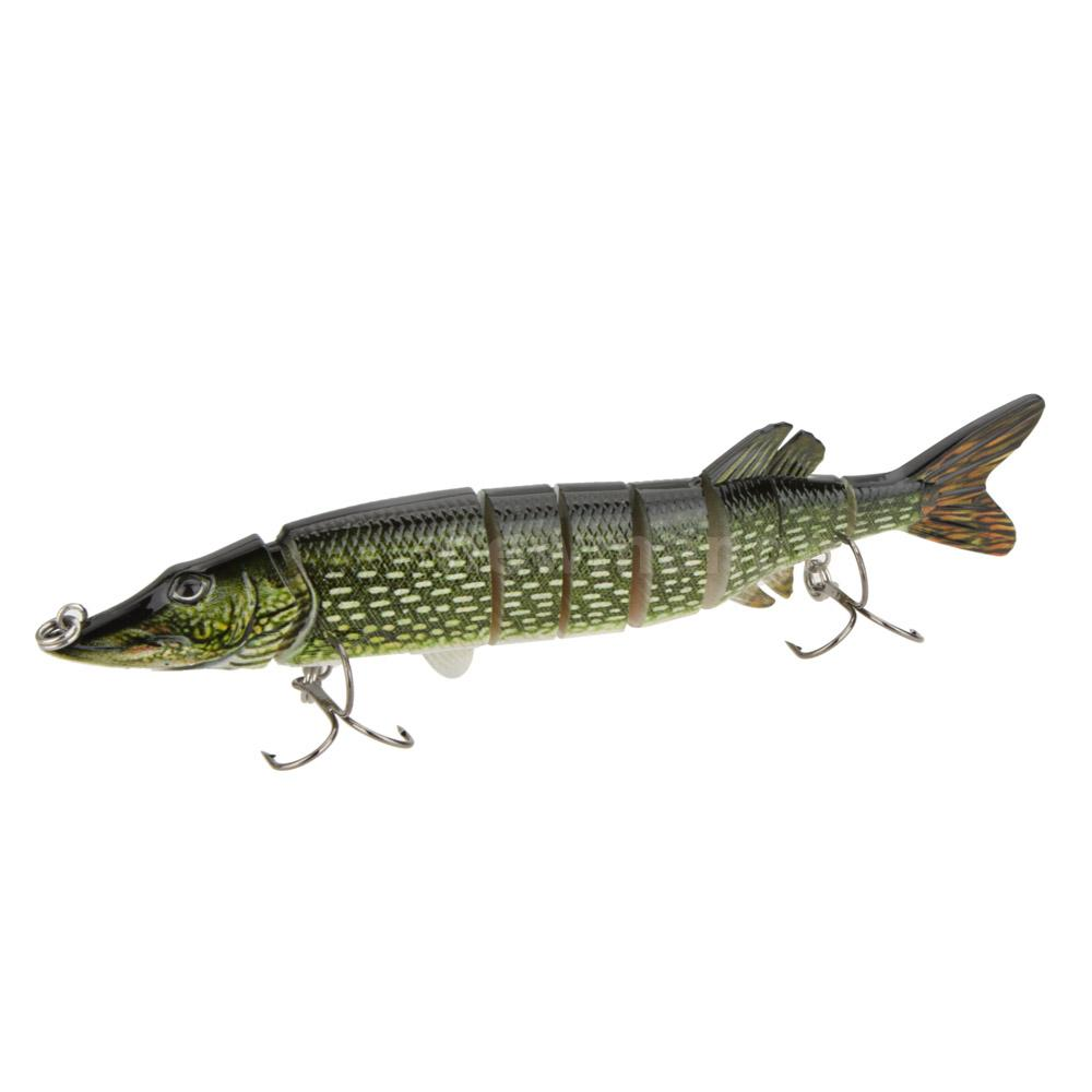 Multi jointed pike muskie fishing lure swimbait crankbait for Pike fishing lures